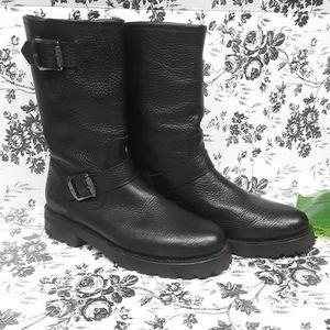 Frye Black Natalie Mid Engineer Lug Shearling Boot